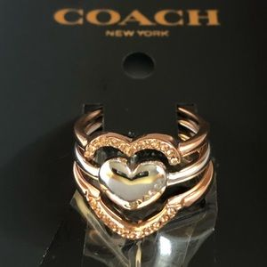 Coach - NWT Halo Hearts Rose Gold/Silver Rings